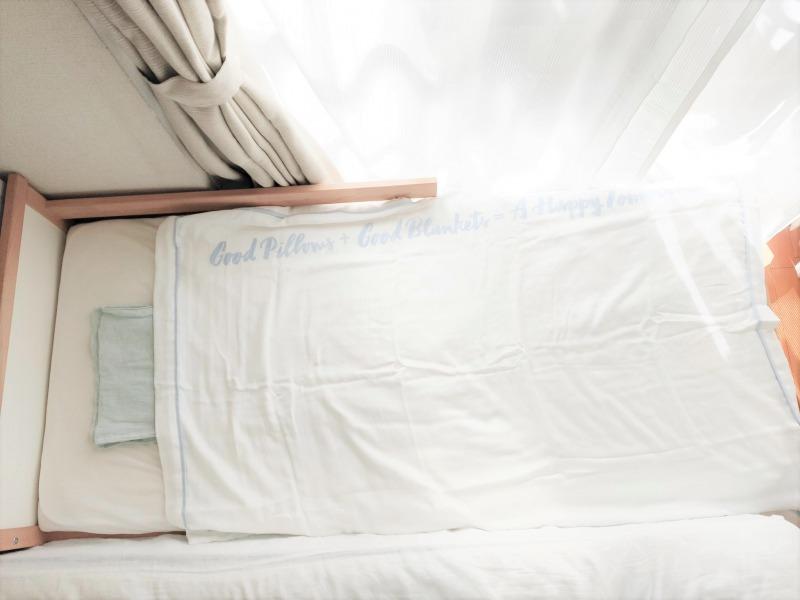西川やわらかガーゼケット(ハーフ) イケアのジュニアベッドで使用